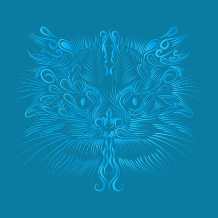abstract shaggy head portrait muzzle cat and lynx mythical animal of blue on a blue background Archivio Fotografico