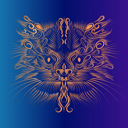 abstract shaggy head portrait muzzle cat and lynx mythical animal of orange color on a blue and purple background