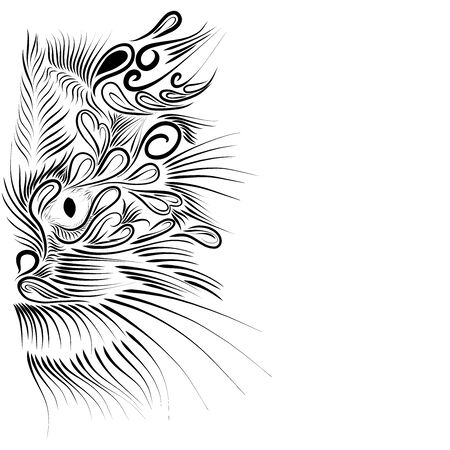 abstract shaggy head portrait muzzle cat and lynx mythical animal of black color on a white background Stock Photo