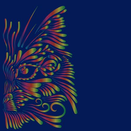 abstract head muzzle portrait lynx thin fluffy curls of hair yellow and green and red and blue on a purple background Stock Photo