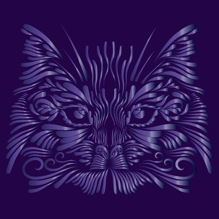 abstract muzzle head portrait lynx thin fluffy curls of hair of lilac color on a purple background