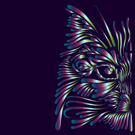 abstract shaggy fluffy head portrait face muzzle cat and lynx mythical animal with long thin twisted mustache pink and blue and white and green colors on a purple background