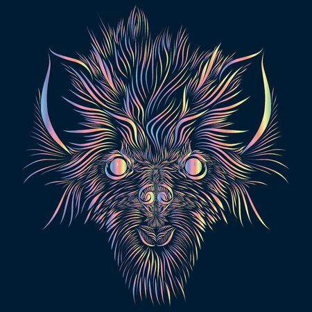 abstract shaggy head of a wolf and a mythical animal with large ears of pink and green and yellow on a dark blue background Stock Photo