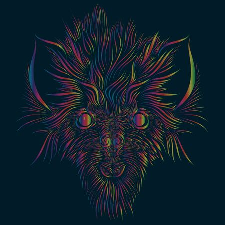 abstract shaggy head of a wolf and a mythical animal with big ears of pink and green and red and yellow colors on a dark blue background