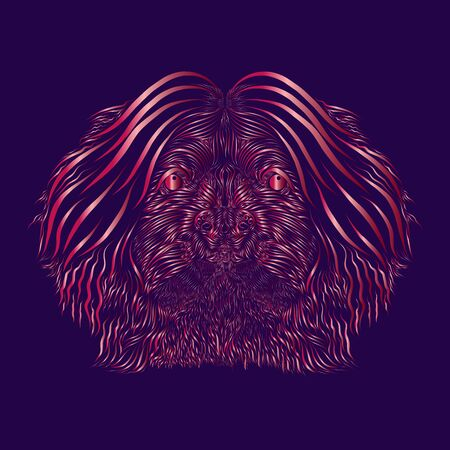 abstract shaggy fluffy head portrait face muzzle of a dog and puppy of a mythical animal with long thin twisted hair pink colors on a purple background