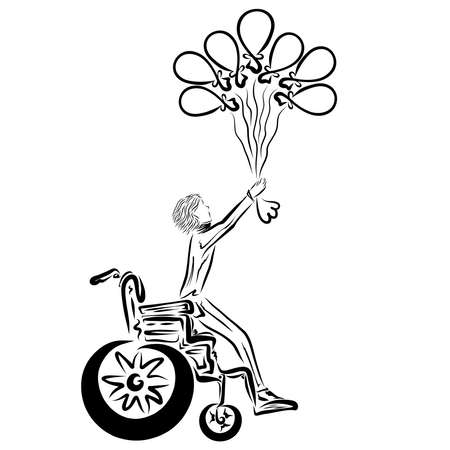seven balloons lift a person from a wheelchair