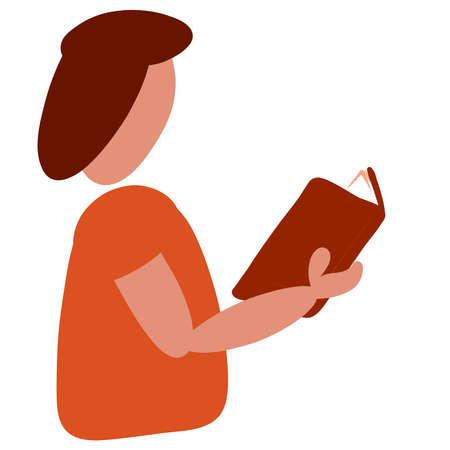 person holds a book in his hand and reads