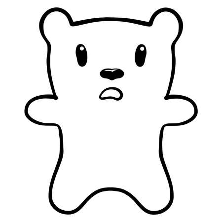 scared confused bear, funny pattern, black outline Banque d'images