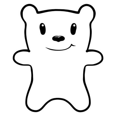 funny bear with a smile, black outline