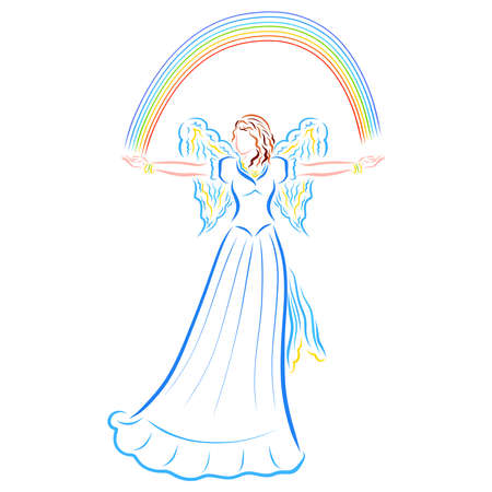 winged lovely woman with a rainbow in her arms