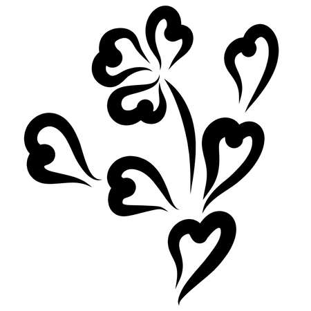 flower with leaves and petals in the shape of a heart