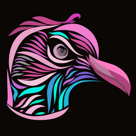 bird head with a strict look, pattern on a black background