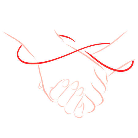 he and she hold hands, an infinity line connecting them Banco de Imagens