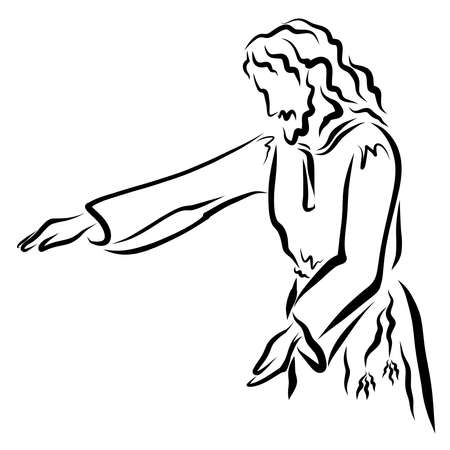 Jesus stretches out his hand for healing or blessing, call