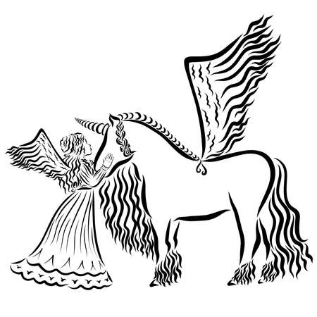 beautiful winged girl with winged unicorn, black pattern