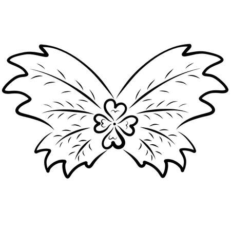 four heart clover with large wings like a butterfly