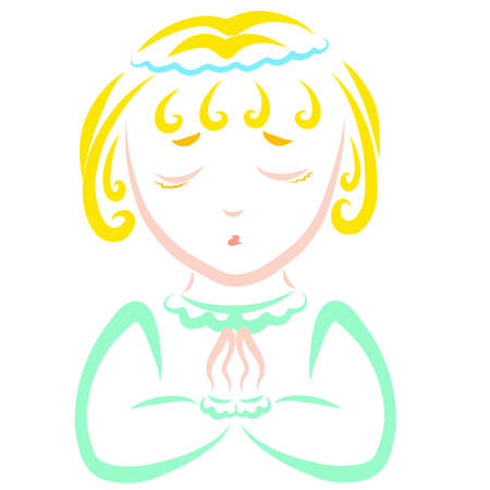 cute praying kid with blond hair, colorful pattern