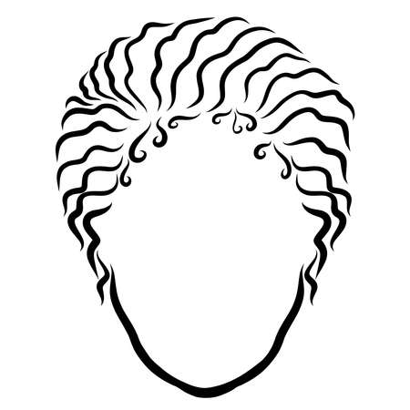 head of a young woman with wavy hair gathered together Фото со стока