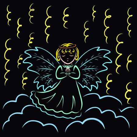 little winged angel prays standing on a cloud under a serpentine light