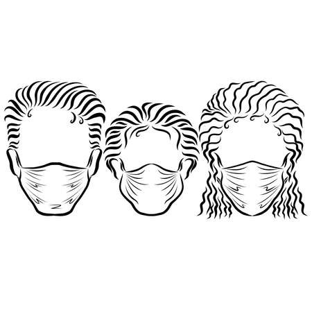 family in medical masks, mom, dad and baby
