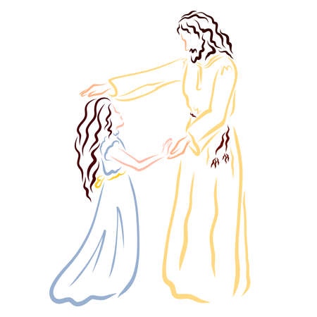 Jesus the Savior Blesses or Heals the Girl