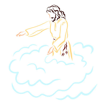 Jesus blesses people or calls, standing on a cloud Фото со стока