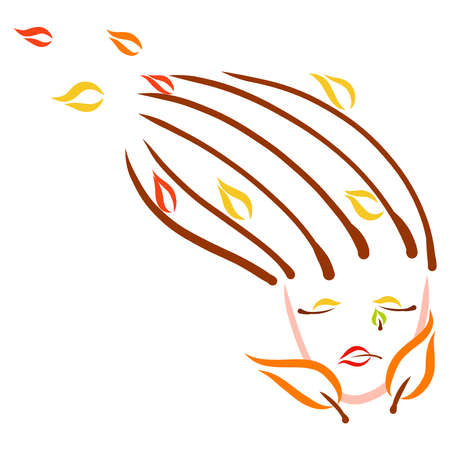 sad woman face with flying yellow and red leaves