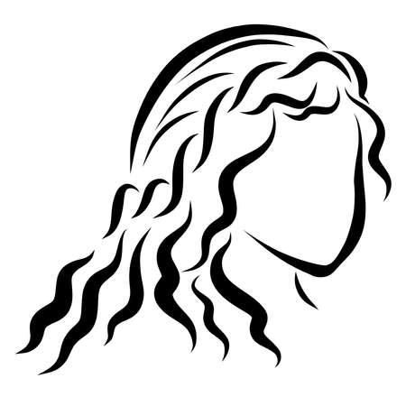 girl with long wavy hair, simple beautiful hairstyle Фото со стока