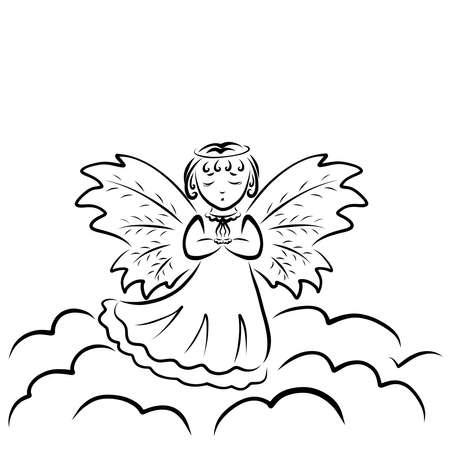 cute little angel praying standing on a cloud Фото со стока