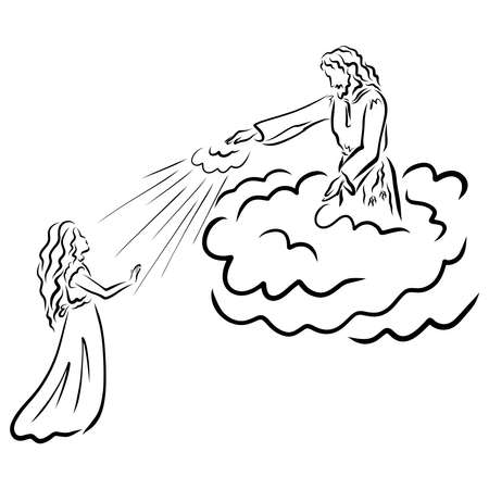 Jesus, standing on a cloud, sends His light to the girl Фото со стока