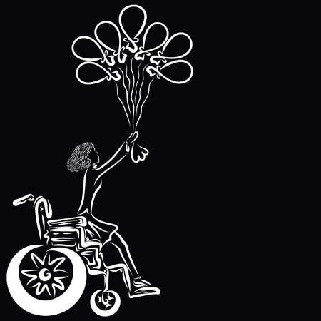 girl climbs out of the wheelchair holding seven balloons Фото со стока