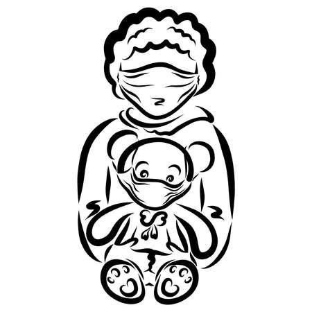 boy and teddy bear wearing medical masks