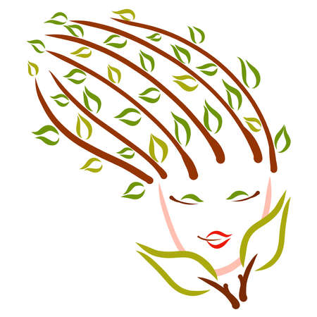 beautiful woman nature, spring or summer, foliage on the head and face