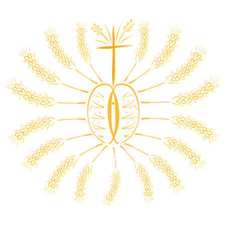 sun from two loaves of bread, with rays from ears of wheat, with a cross and ichthyus Фото со стока