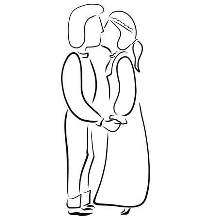 kiss of a young couple in retro clothes Фото со стока