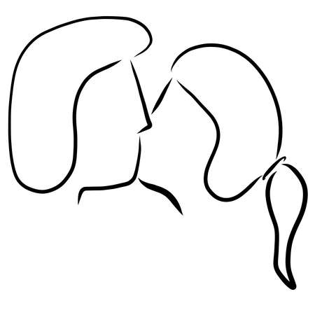 kiss of a young couple, head, black profile outline