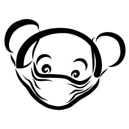 cute little bear wearing medical mask on face