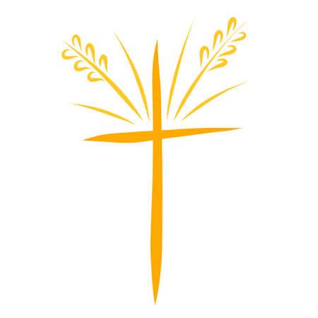ears of wheat like rays of light on the cross