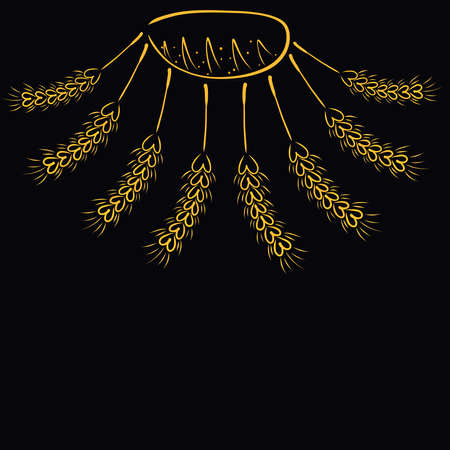 sun made of bread and ears of corn on a black background