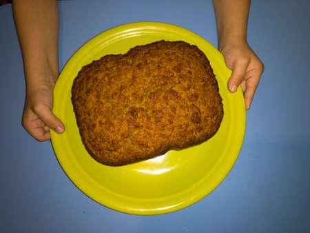 birthday cake with almonds pastries Фото со стока