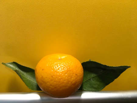 sweet tangerine with green leaves