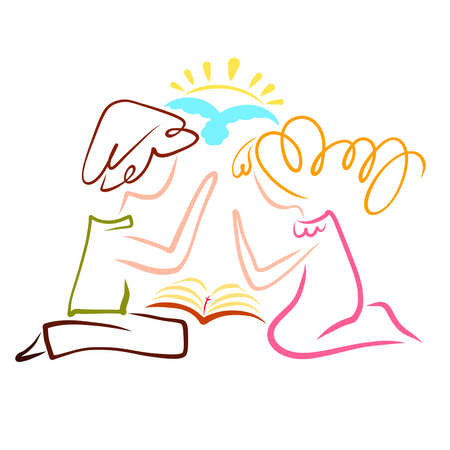young couple praying over open bible, flying bird and sun