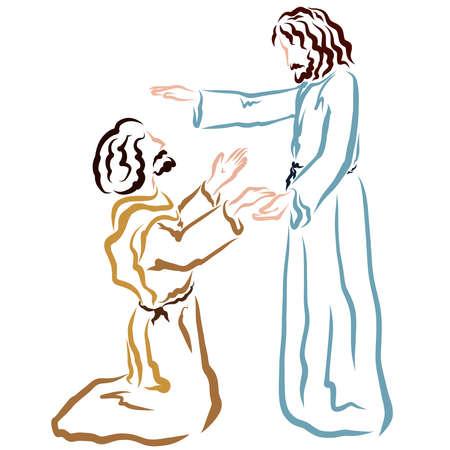 Savior Jesus blesses or heals a kneeling man Фото со стока