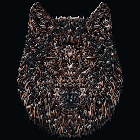 wolf with a menacing look with the image of a flying bird, volumetric smooth lines