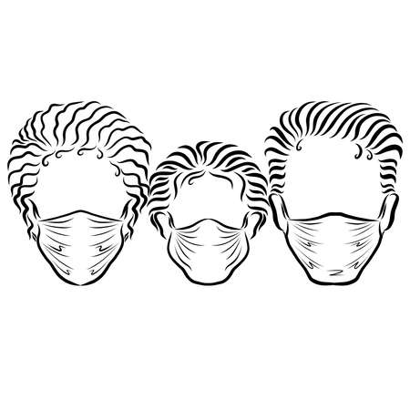 family in medical masks, black head outline