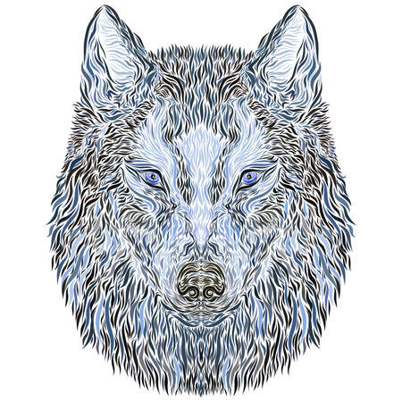 mysterious wolf head with blue watchful eyes, creative pattern 写真素材