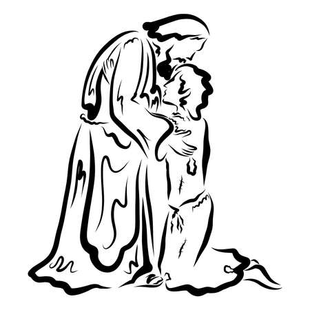 loving old father kissing the returned prodigal son