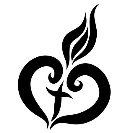 heart with a cross inside, burns like a candle Standard-Bild