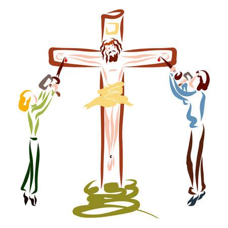 people crucify their Savior on the cross, sin and betrayal