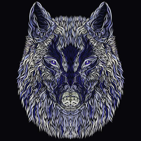 mysterious wolf with a dark flying bird on the nose